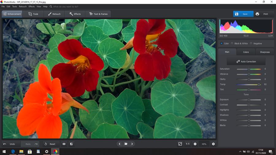 interface inteligente do PhotoWorks